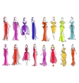 Fashion models in colorful dresses sketch style vector image vector image