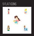 flat icon mother set of perambulator baby parent vector image