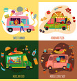 food trucks concept icons set vector image vector image