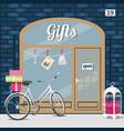 gifts shop s facade of blue brick vector image vector image
