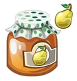 Glass jar with jam or marmalade and pear vector image