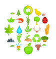 green icons set cartoon style vector image vector image
