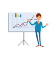 happy manager pointing on tripod board charts vector image vector image