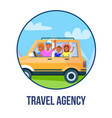 happy parents with children traveling by car icon vector image vector image