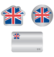 Home icon on the United Kingdom flag vector image