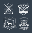 hunting club or hunt adventure logo templates set vector image vector image