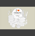 i love cooking creative vintage poster with vector image