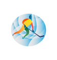 Ice Hockey Player Circle Retro vector image vector image
