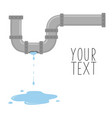 leaking pipe with flowing water vector image vector image