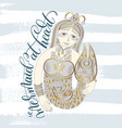mermaid at heart - hand lettering with line vector image vector image