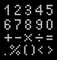 numbers and mathematical signs from pixels vector image vector image