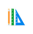 pencil with rulers flat creative icon vector image vector image