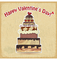 postcard showing big cake for Valentines Day vector image vector image