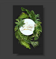 round banner with green tropical leaves vector image vector image