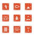 school education icons set grunge style vector image vector image