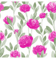 seamless pattern with pink rose flower branches vector image vector image