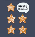 set of christmas gingerbread cookie stars vector image vector image