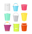 set of colorful buckets vector image