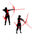 set silhouette attractive female archer bending a vector image vector image
