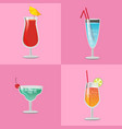 set summer cocktails vodka with juice blue lagoon vector image vector image