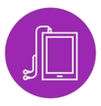 Tablet with headphones line icon vector image vector image