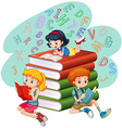 Three kids reading books vector image vector image