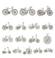 various bicycles outline icons in set collection vector image vector image