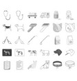 veterinary clinic monochromeoutline icons in set vector image