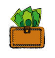wallet with money icon vector image vector image
