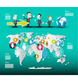 World Map with Businessmen Infographic Template vector image vector image