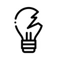 wrecked lightbulb icon outline vector image vector image
