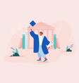 young man alumnus in academic cap and gown hold vector image