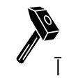 hammer with pin icon black vector image
