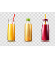 3d purple orange juice glass bottle set vector image