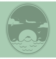 Airplane flies over the sea vector image vector image