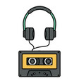 audio earphones technology with retro cassette vector image