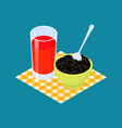 black rice porridge and fruit juice breakfast vector image