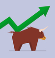 Bull with graph up trend vector image