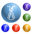 chemical glass pipette icons set vector image