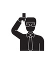 chemist scientist black concept icon vector image vector image