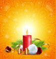 christmas greeting card with red candle vector image vector image