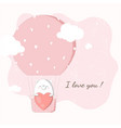 cute bear holding big heart in hot air balloon vector image