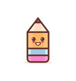 cute wooden pencil rubber eraser cartoon comic vector image vector image