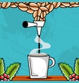 dispenser coffee tap with cup vector image