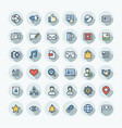 flat color thin line icons set with social vector image vector image
