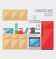 Flat design of kitchen interior vector image vector image