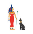flat isis egypt goddes and black cat vector image vector image