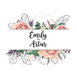 floral wedding invitation save date card vector image vector image