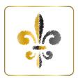 Golden fleur-de-lis heraldic emblem 4 vector image