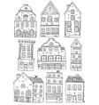 Hand Drawn Houses Monochrome Set vector image vector image